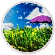 Purple Umbrella In A Field Of Corn Round Beach Towel by Bob Orsillo