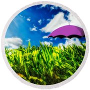 Purple Umbrella In A Field Of Corn Round Beach Towel