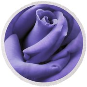 Purple Velvet Rose Flower Round Beach Towel