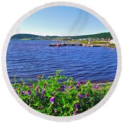 Purple Vetch Overlooking Rocky Harbour-nl Round Beach Towel