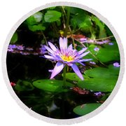 Purple Water Lilly Round Beach Towel