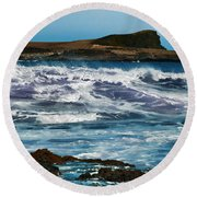 Purple Wave Round Beach Towel