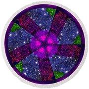 Purple Wheel Vortex Round Beach Towel