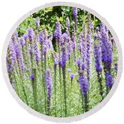 Purple Wild Flowers 2 Round Beach Towel