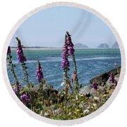 Purple Wildflowers At Netarts Bay Round Beach Towel