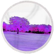Purple World Round Beach Towel