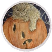 Purrfect Halloween Round Beach Towel