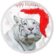 Purrfect Holiday Round Beach Towel