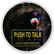 Push To Talk Round Beach Towel