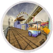 Pushing On The Pier Round Beach Towel