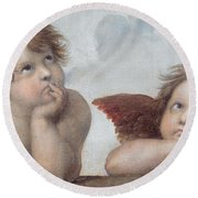 Putti Detail From The Sistine Madonna Round Beach Towel by Raphael