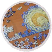 Puzzled Round Beach Towel