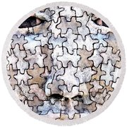 Puzzled Man No2 Round Beach Towel