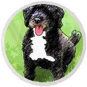 Pw Dog Round Beach Towel