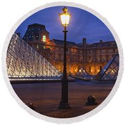 Pyramid At A Museum, Louvre Pyramid Round Beach Towel