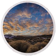 Pyramid Lake Sunset Round Beach Towel