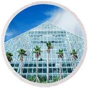 Pyramid, Moody Gardens, Galveston Round Beach Towel