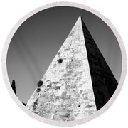 Pyramid Of Cestius Round Beach Towel by Fabrizio Troiani