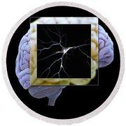 Pyramidal Neuron And Brain Round Beach Towel