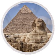 Pyramids And Sphinx In Egypt Round Beach Towel