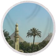 Pyramids And The Minaret Round Beach Towel