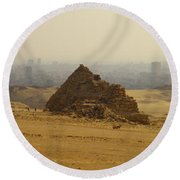 Pyramids Of Giza 12 Round Beach Towel