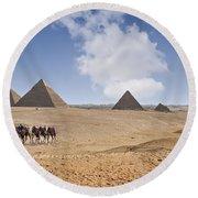 Pyramids Of Giza Round Beach Towel
