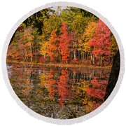 Quabbin Reservoir Fall Foliage Round Beach Towel