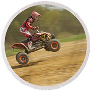 Quad Racer Jumping Round Beach Towel