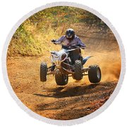 Quad Rider  Round Beach Towel