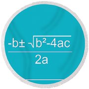 Quadratic Equation Aqua-white Round Beach Towel