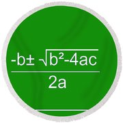 Quadratic Equation Green-white Round Beach Towel