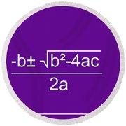 Quadratic Equation Violet-white Round Beach Towel