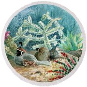 Quail At Rest Round Beach Towel