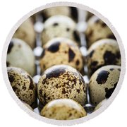 Quail Eggs Round Beach Towel by Elena Elisseeva