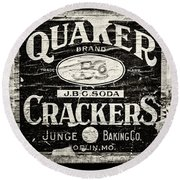 Quaker Crackers Rustic Sign For Kitchen In Black And White Round Beach Towel