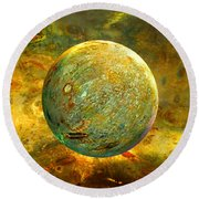 Quantum Soul...orb Of Light Round Beach Towel by Robin Moline