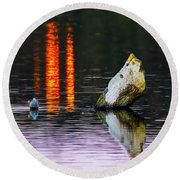 Quarry Lake Reflections Round Beach Towel