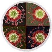 Quatro Floral - 0102cba Round Beach Towel
