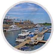 Quays Along Saint Lawrence River In Montreal-qc Round Beach Towel