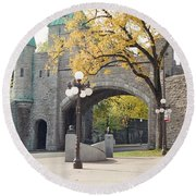 Bridge - Quebec Canada Round Beach Towel