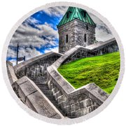 Quebec City Fortress Gates Round Beach Towel
