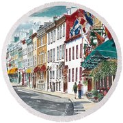 Quebec Old City Canada Round Beach Towel by Anthony Butera