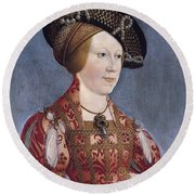 Queen Anne Of Hungary And Bohemia Round Beach Towel