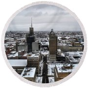 Queen City Winter Wonderland After The Storm Series 001 Round Beach Towel