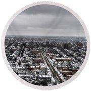 Queen City Winter Wonderland After The Storm Series 0010 Round Beach Towel