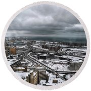 Queen City Winter Wonderland After The Storm Series 0011 Round Beach Towel