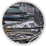 Queen City Winter Wonderland After The Storm Series 0014 Round Beach Towel