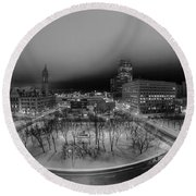 Queen City Winter Wonderland After The Storm Series 0019 Round Beach Towel