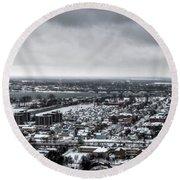 Queen City Winter Wonderland After The Storm Series 002 Round Beach Towel